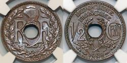 World Coins - French Indo-China. Colony Issue. AE 1/2 Cent 1938 A. NGC MS63 BN