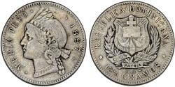 World Coins - Dominican Republic. AR 1/2 Peso 1897. Bold VF.