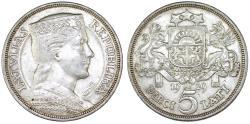 World Coins - Latvia (ex Livonia). Republic (1918-1940) Silver 5 Lati 1929. Choice XF