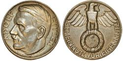 World Coins - Germany. III REICH.  Adolf Hitler (1889-1945). RARE Silver-plated bronze medal no date (W.Voss). XF+