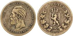 World Coins - Norway under Sweden. Oscar II (1872-1907). Scarce 2 Kroner 1878. VF