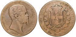 World Coins - Italian States. Sardinia. Priince V. Emmanuel II. VERY RARE AR 5 Lire 1850 P. VG, toned.