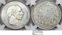 """World Coins - Denmark. Christian IX (1863-1907). Silver 2 Kroners 1888. """"25 years of reign"""". NGC MS61"""