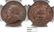 World Coins - South Africa. Peter Kruger. AE 1 Penny 1898. NGC MS64 RB!