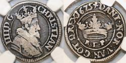 World Coins - Denmark. Christian IV (1588-1648) Scarce AR 1/2 Krone 1625. NGC VG8, toned