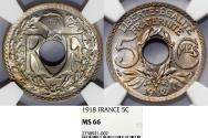 World Coins - France. Republic. NI 5 Centimes 1918. NGC MS66!