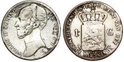 World Coins - Netherlands. Kingdom. William II (1840-1849). Silver 1 Gulden 1845. VG, scarce date