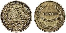World Coins - Republic of El Salvador. AR 5 Centavos 1914. Good  VF