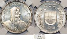 World Coins - Switzerland. Federation. AR 5 Francs 1935. NGC MS64