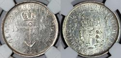 World Coins - British Colonial: West Indies. George IV. AR 1/4 Dolar Anchor Money 1822/1. NGC MS61PL!
