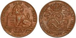 World Coins - Belgium. Kingdom. Leopold I (1831-1865). AE 5 Centimes 1857. Choice XF