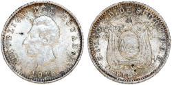 World Coins - Ecuador. Republic. AR 1/2 Decimo 1915. Choice XF, toned