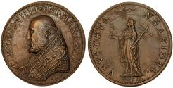 World Coins - Italy, Papal States. Clemens VIII (1592-1605). AE Medal 1602. Choice  XF/AU