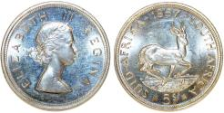 World Coins - South Africa as British Colony. Elizabeth II. AR 5 Shillings 1957. Nice Proof-Like Strike