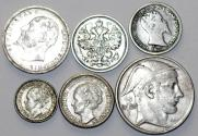World Coins - European Lot of 6 Silver Coins. 1860-1950. aVF-UNC