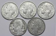 World Coins - France. Lot of 5 Coins: 1  Franc 1944-1947. XF-AU.