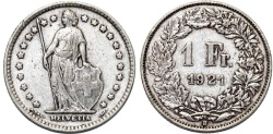 World Coins - Switzerland. Federation. AR 1 Franc 1921. aVF