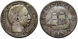 World Coins - Danish West Indies. Christian IX. AR 5 Cents 1879. Fine+