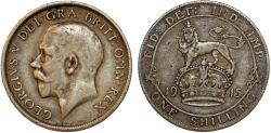 World Coins - Great Britain. King George V (1911-1935). AR Shilling 1915. aVF