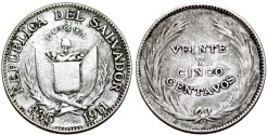 World Coins - Republic of El Salvador. AR 25 Centavos 1911. aVF.