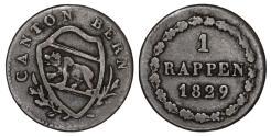 World Coins - Swiss Cantons. Bern. BI 1 Rappen 1829. Nice VF