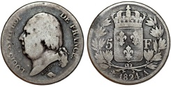World Coins - France. king Louis XVIII., Second Gouvernement Royal, 1815-1824. Silver 5 Francs 1824 A. Fine