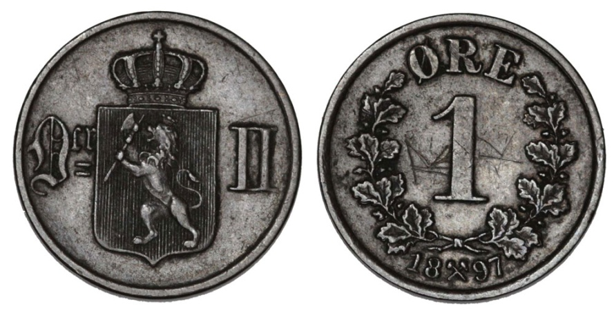 World Coins - Norway. AE 1 Ore 1897. AU