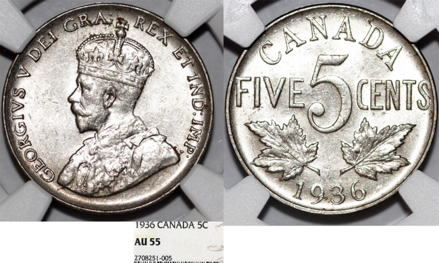 World Coins - Canada. Ni 5 Cents 1936. NGC AU55