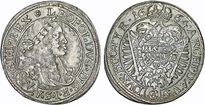 World Coins - H.R.E. Austria. Vienna. Leopold I (1657-1705). Silver 15 Kreuzer 1664 CA. Choice AU