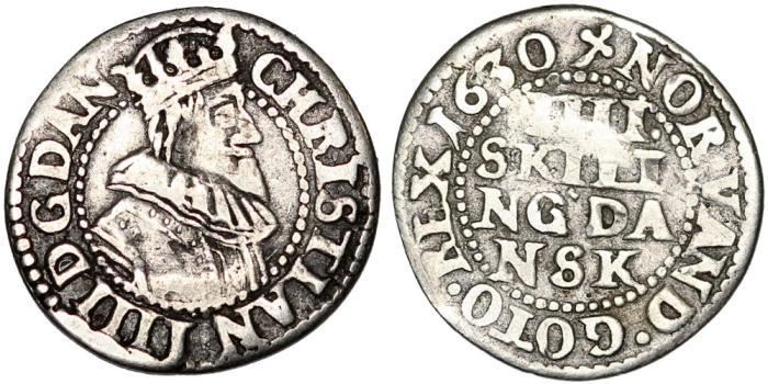 World Coins - Denmark. Christian IV (1588-1648) AR 4 Skillings 1630. aVF