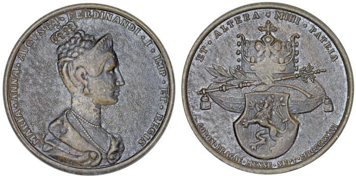 World Coins - Austrian Empire. Bohemia. Coronation AE Medal of Maria Anna Augusta as Queen of Bohemia 1836. VF