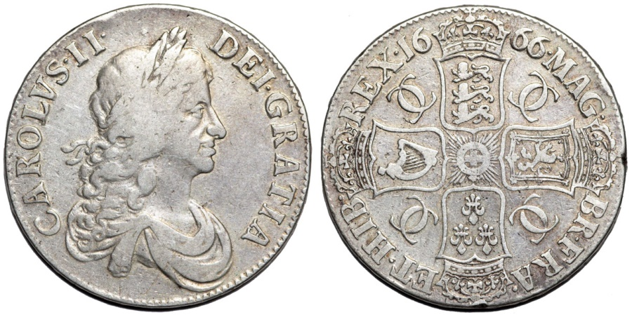 """World Coins - Great Britain. Charles II (1660-1685). AR Crown 1666 """"Second bust"""". Bold VF"""