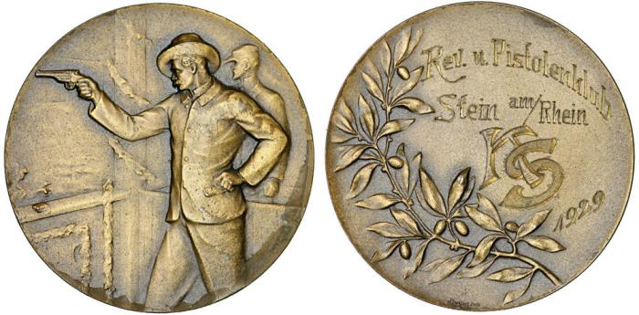 "World Coins - Switzerland. RARE Large Bronze Merdal. ""On Pistols shooting festival"" 1929. UNC, dedicated!"