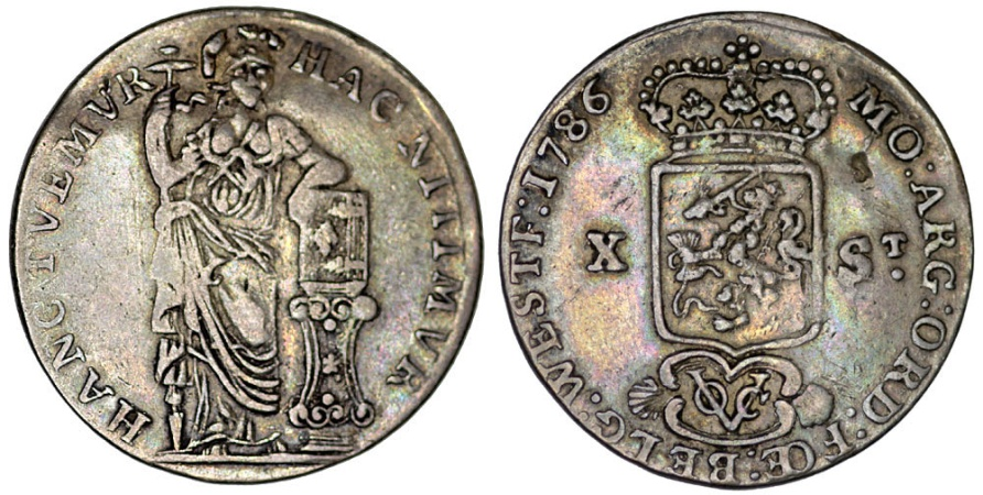 World Coins - Netherlands. Colonial Issue. East Indies. AR 10 Stuiver 1786. Fine/aVF, scarce.