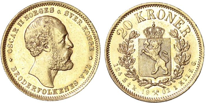 World Coins - Norway under Sweden. Oscar II (1872-1907). Gold 20 Kroner 1902. Choice AU/UNC, RARE