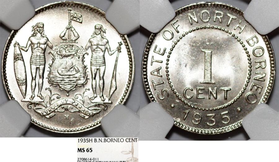 World Coins - British North Borneo. CU-NI 1 Cent 1935 H. NGC MS65, RARE BU