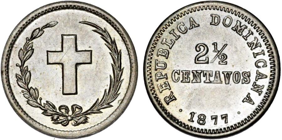 World Coins - Dominican Republic. CU-NI 2.5 Centavos 1877. Choice AU