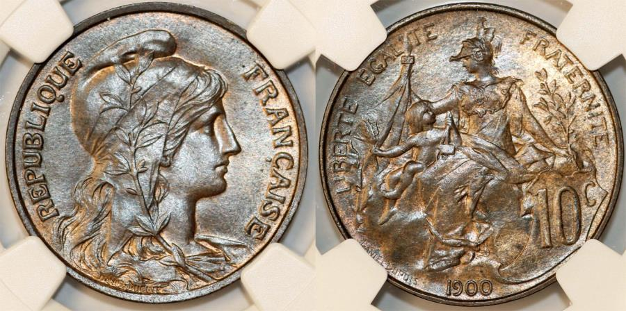 World Coins - France. Republic. BRZ 10 Centimes Marianne 1900. NGC MS64 BN!