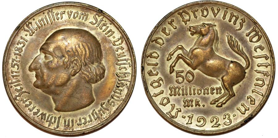 World Coins - Germany. Westfalia. Inflation Money 50 Million Mark 1923. Choice XF