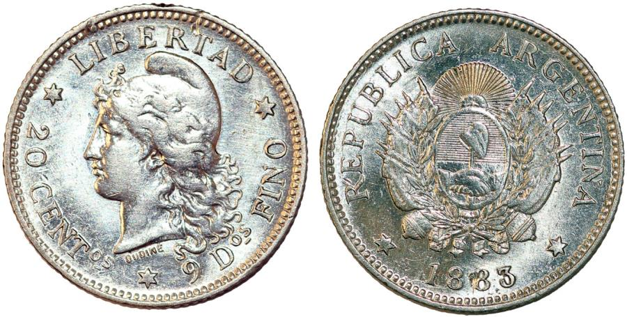 World Coins - Argentina. Republic. AR 20 Centavos 1883. UNC