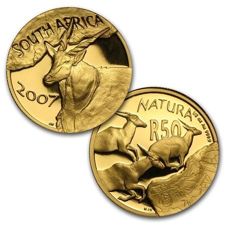 World Coins - South Africa 1/4 oz Gold Natura Eland 2007 20 Rand.  BU