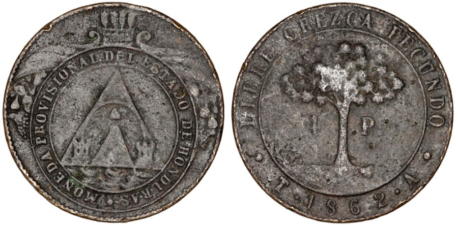 World Coins - Honduras. Provincial Coinage. Copper 4 Peso 1862 TA. Fine+