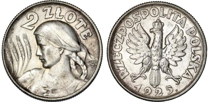 World Coins - Poland. II Republic (1918-1939). AR 2 Zloty 1925. Choice XF