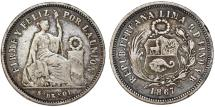 World Coins - Peru. Republic. Silver 1/5 Sol 1867 YB. Toned about VF