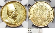 World Coins - Egypt. Kingdom. Fuad I (1922-1936) 100 Piastres 1922. NGC AU58