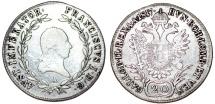 World Coins - Austria. Vienna. Franz II. AR 20 Kreuzer 1817 A.  About VF
