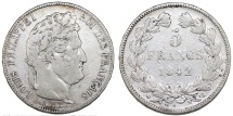 World Coins - France. Louis Philippe I. Silver 5 France 1842 B. Fine+