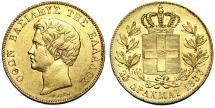 World Coins - Greece.  Kingdom. Othon. 1833-1862. AV 20 Drachmai 1833. Choice AU