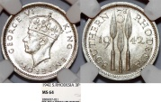 World Coins - Southern Rhodesia as British Colony. King George VI. AR 3 Pence 1942. NGC MS64!