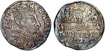 World Coins - Poland. Rzeczypospolita. Poznan. king Sigismund III. AR 3 Gross 1601, Toned Choice XF.